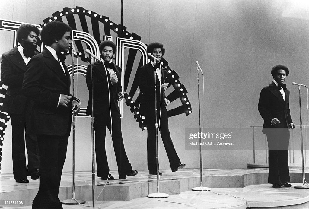 R and B singers Nicholas Caldwell, Walter Scott, Marcus Hutson, Leaveil Degree and Wallace 'Scotty' Scott of the R and B band 'The Whispers' perform on Soul Train in circa 1974.