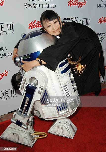 R2D2 and Bai Ling during 'Star Wars Episode III Revenge of The Sith' Premiere to Benefit Artists for a New South Africa Charity Arrivals at Mann...