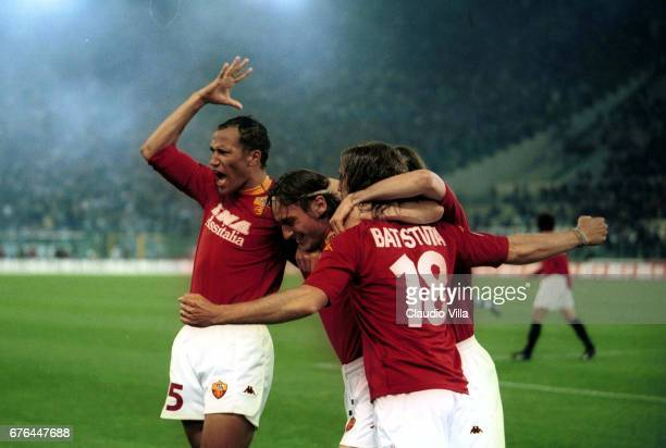 ZEBINA TOTTI and BATISTUTA of Roma celebrating after the goal during the SERIE A 28th Round League match between Roma and Lazio played at the Olympic...