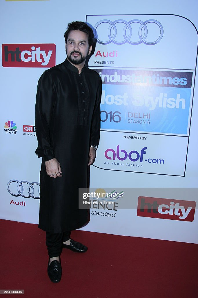 BJP MP and BCCI Chief Anurag Thakur arriving at red carpet forHindustan Times Most Stylish Awards 2016 at hotel JW Marriot, Aerocity on May 24, 2016 in New Delhi, India.
