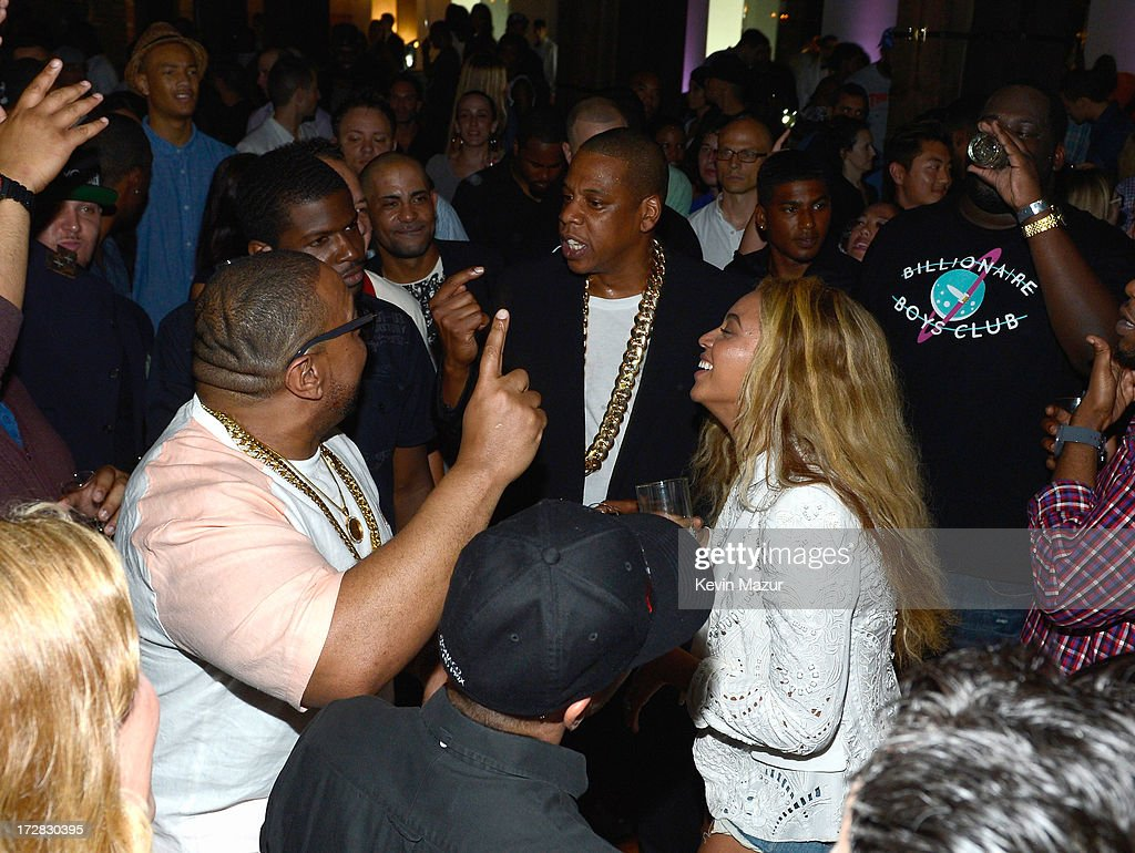 JAY Z and Beyonce attend JAY Z and Samsung Mobile's celebration of the Magna Carta Holy Grail album, available now through a customized app in Google Play and Samsung Apps exclusively for Samsung Galaxy S 4, Galaxy S III and Note II users on July 3, 2013 in Brooklyn City.