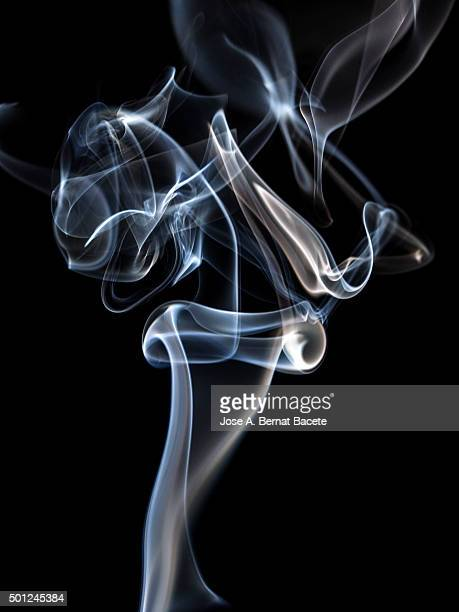 And black background drawings subtle forms of white smoke