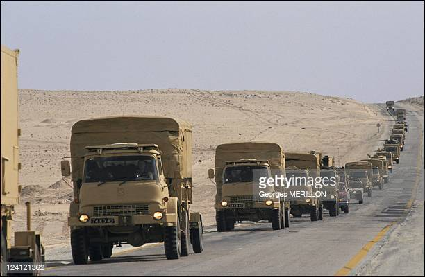 US and British army convoy in the Saudi Arabian desert In Saudi Arabia On January 12 1991
