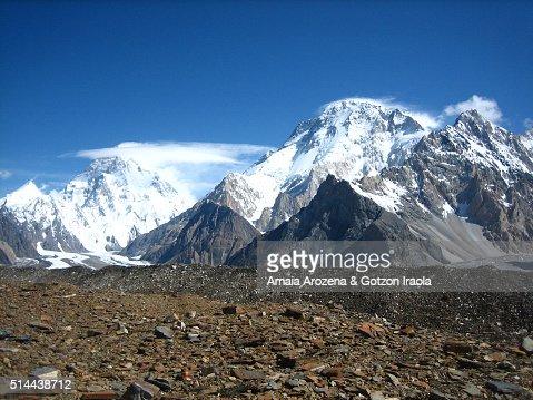 K2 Base Camp At Night K2 and Broad Peak mountains from Concordia camp site in Karakorum ...