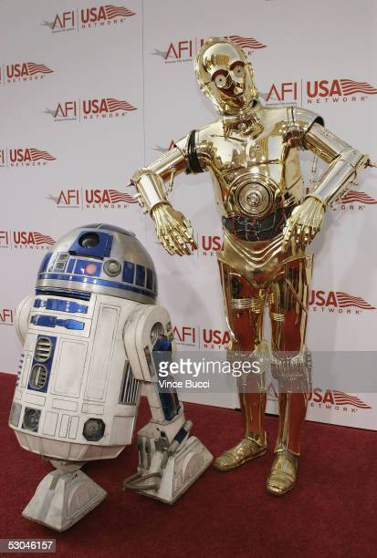 R2D2 and C3PO arrive at the 33rd AFI Life Achievement Award tribute to George Lucas at the Kodak Theatre on June 9 2005 in Hollywood California