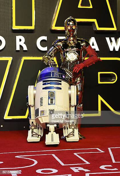 and C3PO attend the European Premiere of 'Star Wars The Force Awakens' in Leicester Square on December 16 2015 in London England