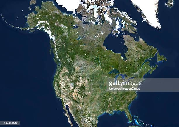 USA and Canada true colour satellite image This image was compiled from data acquired by LANDSAT 5 7 satellites United States And Canada True Colour...