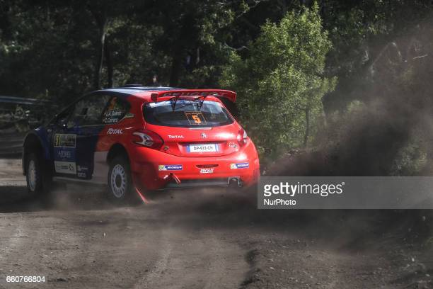 SUAREZ and CANDIDO ESTEVEZ in PEUGEOT 208 T16 of PEUGEOT RALLY ACADEMY in action during the shakedow of the FIA ERC Azores Airlines Rallye 2017 in...