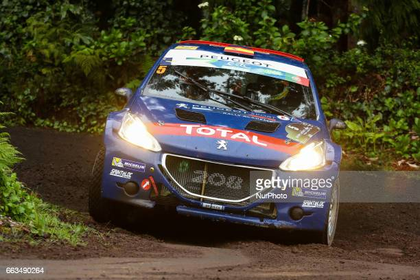 SUAREZ and CANDIDO ESTEVEZ in PEUGEOT 208 T16 of PEUGEOT RALLY ACADEMY in action during the Graninhais of the FIA ERC Azores Airlines Rallye 2017 in...