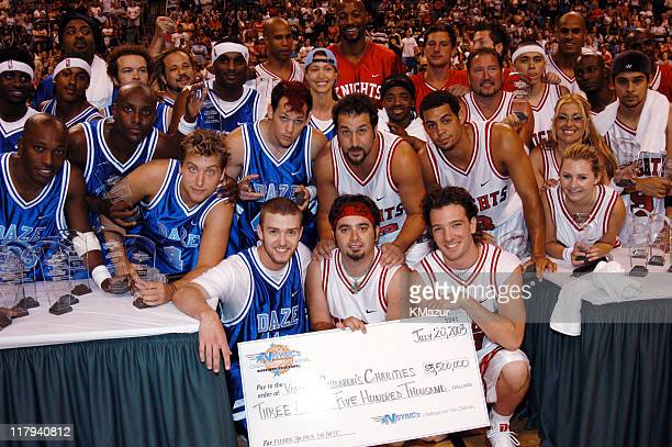 NSYNC and celebrities during *NSYNC's Challenge for the Children V Post Game at Office Depot Center in Fort Lauderdale Florida United States