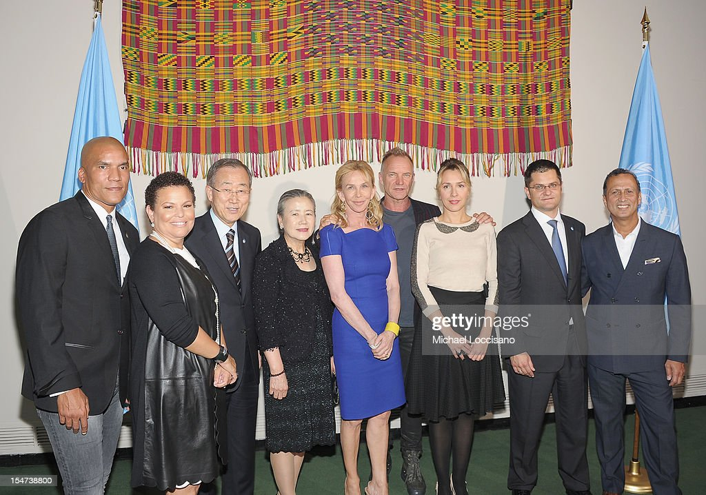 CEO and Chairman of BET Debra Lee, UN Secretary General Ban Ki-moon, his wife Yoo Soon-taek, Trudie Styler, Sting, Natasa Jeremic, her husband President of the United Nations General Assembly Vuk Jeremic and guest attend the United Nations Day Concert at United Nations on October 24, 2012 in New York City.