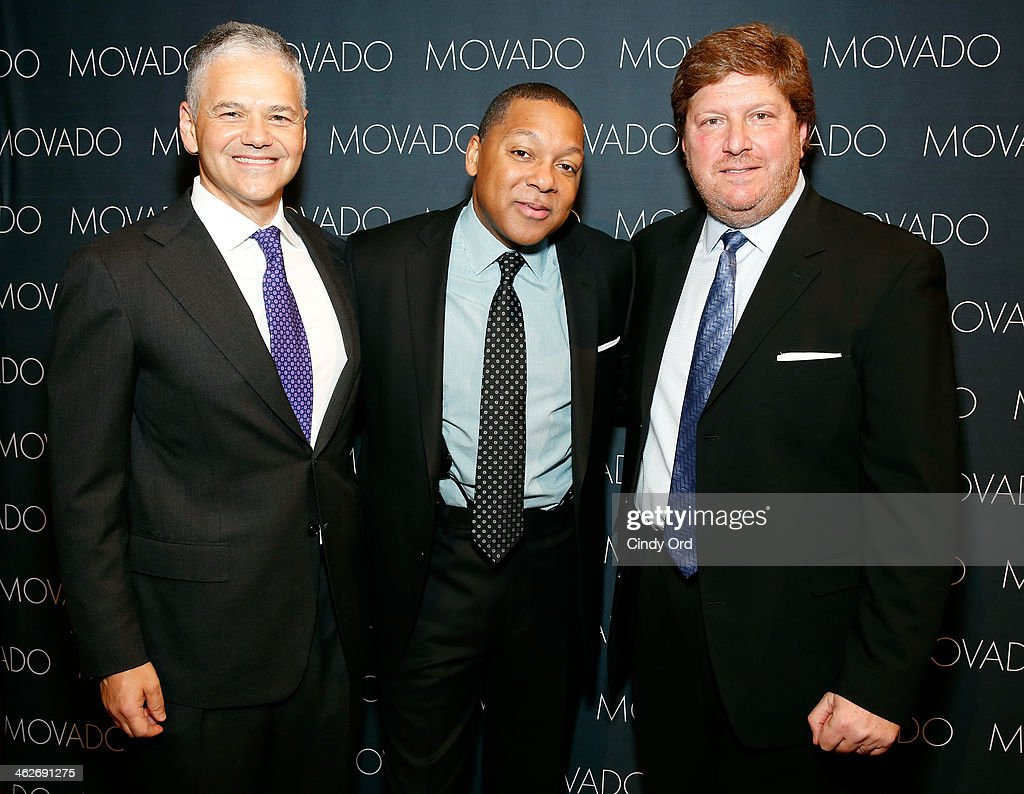 CEO and Chairman of Movado Group Inc Ephraim Grinberg Wynton Marsalis and President Movado and ESQ Movado Alan Chinich attend Movado's announcement...