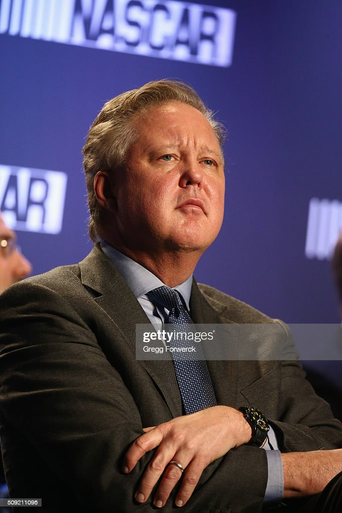 CEO and Chairman of NASCAR <a gi-track='captionPersonalityLinkClicked' href=/galleries/search?phrase=Brian+France&family=editorial&specificpeople=675720 ng-click='$event.stopPropagation()'>Brian France</a> addresses the media at Charlotte Convention Center on February 9, 2016 in Charlotte, North Carolina.
