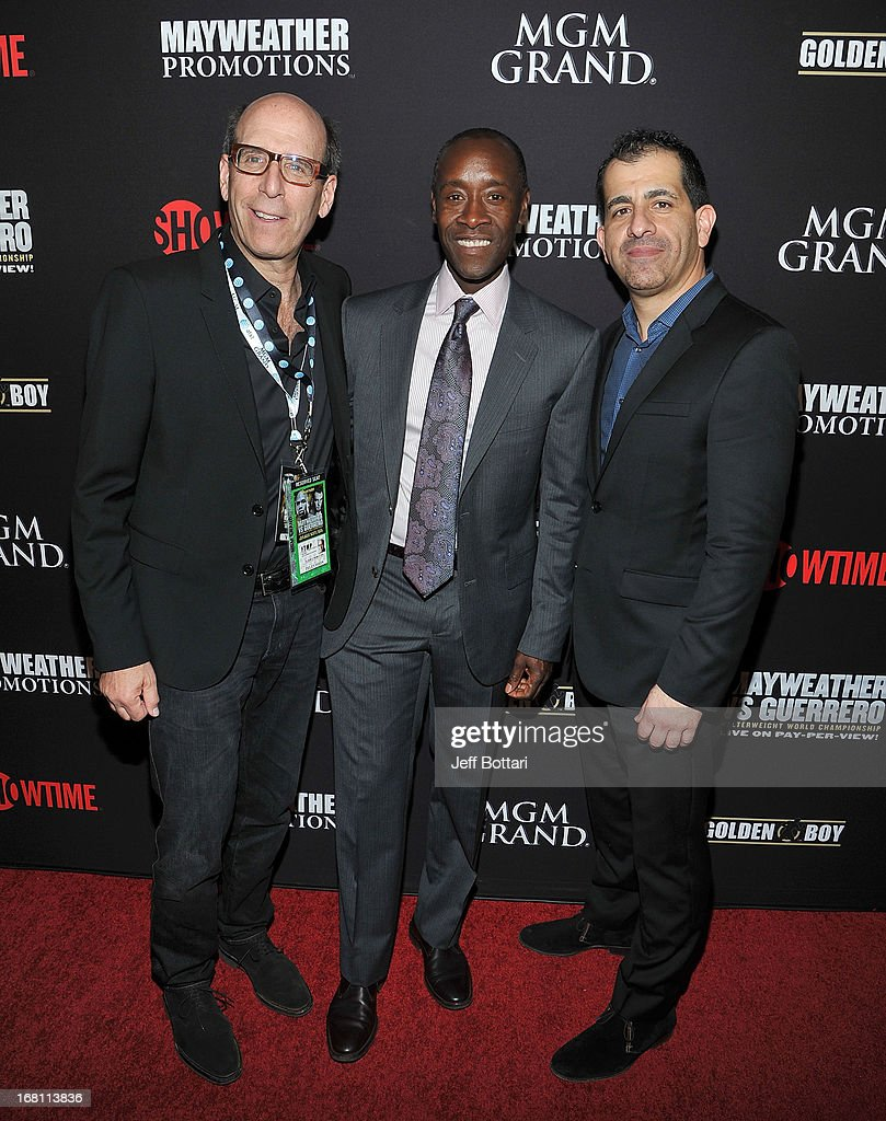 CEO and Chairman of Showtime Networks Inc. Matt Blank, actor Don Cheadle and Executive Vice President, GM Sports and Event Programming of Showtime Stephen Espinoza arrive at a VIP pre-fight party at the WBC welterweight title fight between Floyd Mayweather Jr. and Robert Guerrero at the MGM Grand Hotel/Casino on May 4, 2013 in Las Vegas, Nevada.