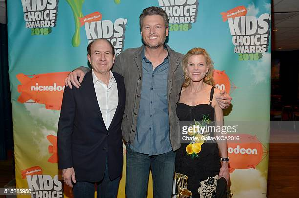 CEO and Chairman of Viacom Philippe Dauman host Blake Shelton and Deborah Dauman attend Nickelodeon's 2016 Kids' Choice Awards at The Forum on March...