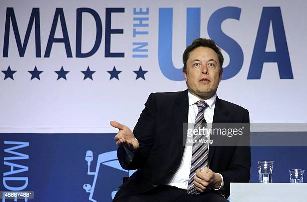 CEO and chief designer of SpaceX Elon Musk participates in a discussion during the 2014 annual conference of the ExportImport Bank April 25 2014 in...