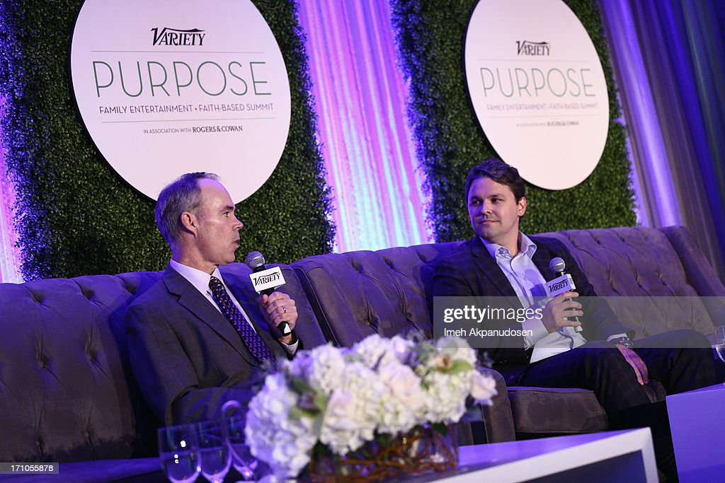 EVP and Chief Marketing Office of Walmart Stephen Quinn and Senior Director of Walmart & Co-Chair at ANA Alliance for Family Entertainment Ben Simon speak onstage at Variety's Purpose: The Faith And Family Summit n Association with Rogers and Cowan at Four Seasons Hotel Los Angeles on June 21, 2013 in Beverly Hills, California.