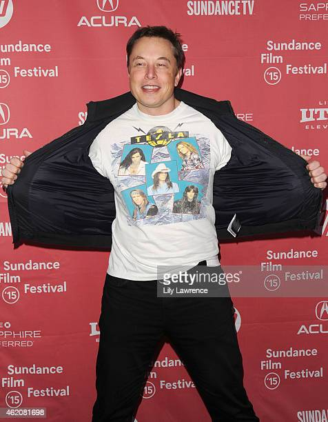 CEO and Chief Product Architect of Tesla Motors Elon Musk attends the 'RACING EXTINCTION' Premiere at The Marc Theater on January 24 2015 in Park...