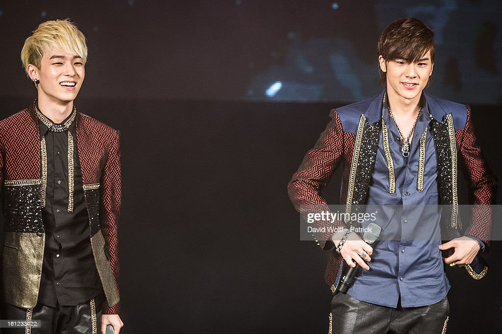 CAP and Chunji from Teen Pop perform at Le Trianon on February 9, 2013 in Paris, France.