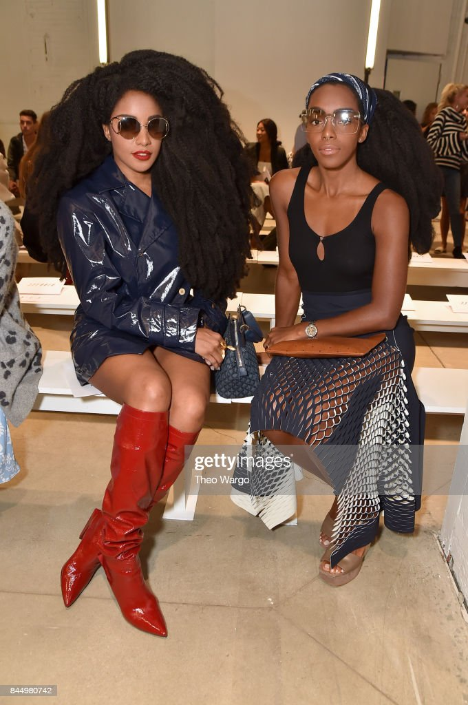 TK and Cipriana Quann attend the Dion Lee fashion show during New York Fashion Week: The Shows at Gallery 2, Skylight Clarkson Sq on September 9, 2017 in New York City.