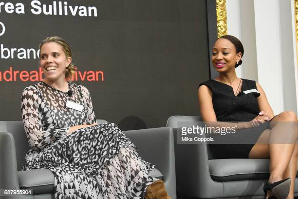 CEO and cofounder at PS Dept Michelle Goad and Marketing Manager at Facebook Lauren WestbrookMcIntosh appear onstage during Interbrand Breakthrough...