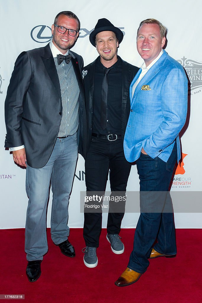 CEO and co-founder of CLM Dave Bernahl, musician Gavin DeGraw and co-founder of CLM Robert Weakley attend LEXUS Live On Grand at the 3rd Annual Los Angeles Food & Wine Festival arrivals on August 24, 2013 in Los Angeles, California.