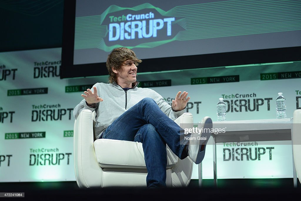 CEO and Co-Founder of Foursquare, <a gi-track='captionPersonalityLinkClicked' href=/galleries/search?phrase=Dennis+Crowley&family=editorial&specificpeople=6729326 ng-click='$event.stopPropagation()'>Dennis Crowley</a> speaks onstage during TechCrunch Disrupt NY 2015 - Day 2 at The Manhattan Center on May 5, 2015 in New York City.