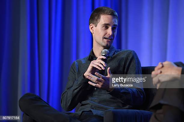 CEO and cofounder of Snapchat Evan Spiegel speaks onstage at the American Magazine Media Conference at Grand Hyatt New York on February 1 2016 in New...