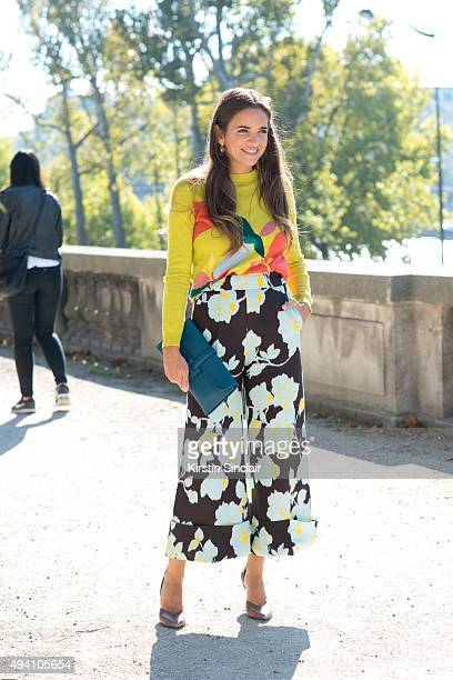 CEO and CoFounder of The Webster Miami Laure Heriard Dubereuil wears a Delpozo top Pierre Hardy shoes and an Hermes bag on day 3 during Paris Fashion...