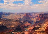 view from the east of the south rim of the Grand Canyon.