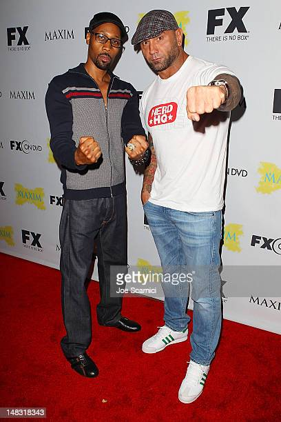 RZA and Dave Batista arrive at the ComicCon International 2012 FX Maxim And Fox Home Entertainment Red Carpet Event at Andaz on July 13 2012 in San...