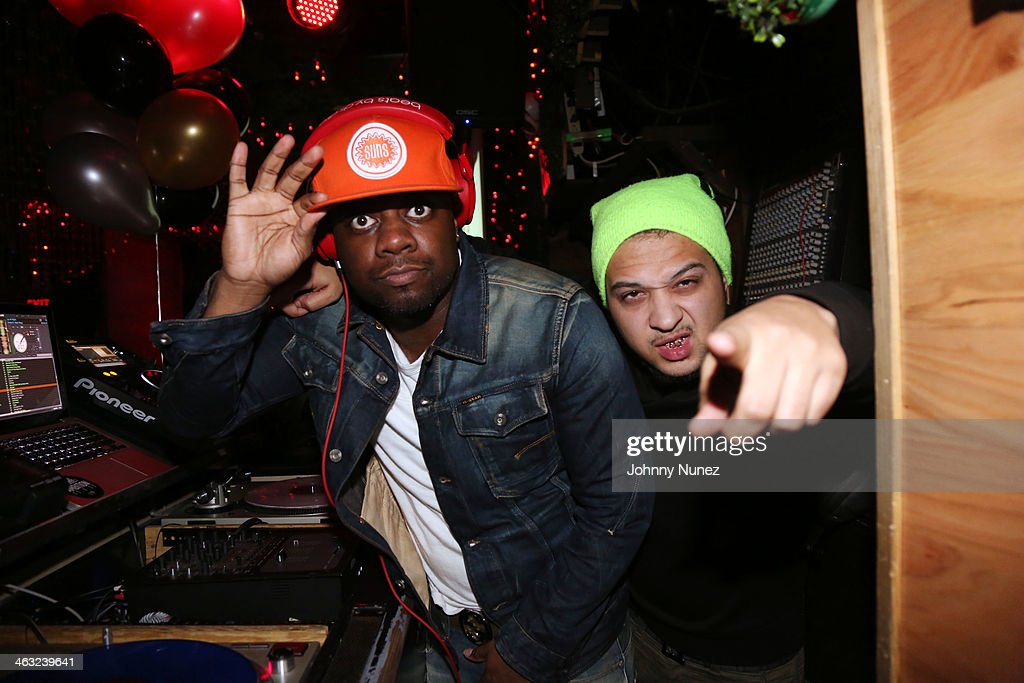 DJ 59 and DJ Moody spin at a birthday celebration for Barry Mullineaux and DJ Clue at Greenhouse on January 16, 2014, in New York City.