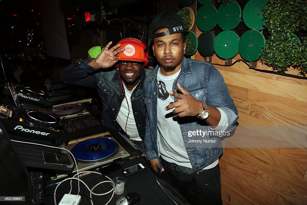 DJ 59 and DJ Whutevva spin at a birthday celebration for Barry Mullineaux and DJ Clue at Greenhouse on January 16, 2014, in New York City.