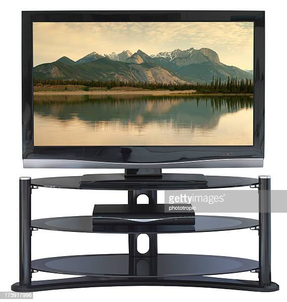HDTV and DVD player on a stand