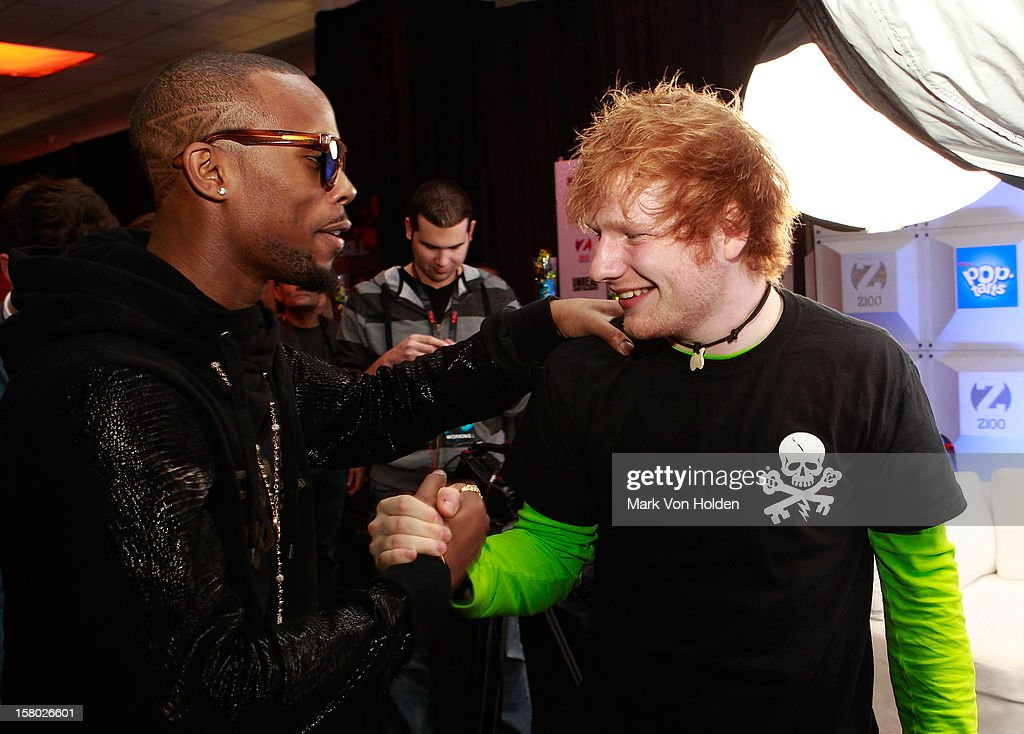 B, and Ed Sheeran attend the Z100 Artist Gift Lounge Presented by Pop Tarts at Z100's Jingle Ball 2012 at Madison Square Garden on December 7, 2012 in New York City.