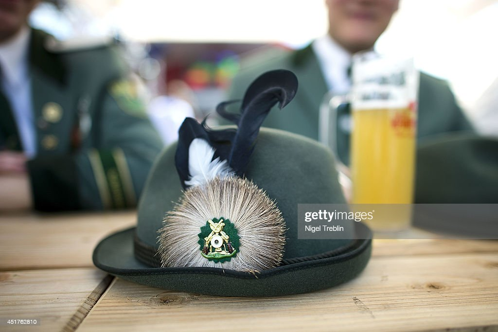 And elaborate cap of a Marksman sits on a table at the world's largest shooting fair, known as Schutzenfest, on July 6, 2014 in Hanover, Germany. A Schutzenfest, or German 'Marksmen's Festival' is a traditional festival featuring a target shooting competition in the cultures of both Germany and Switzerland. Reports indicate that more than a million visitors are expected to attend the 2014 Marksmen's Festival.