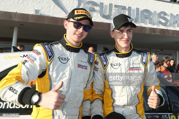 INGRAM and ELLIOT EDMONDSON in OPEL ADAM R2 of OPEL RALLYE JUNIOR TEAM Rally Winners RC2 during the Podium Ceremony of the FIA ERC Azores Airlines...