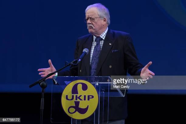 MEP and energy spokesman Roger Helmer speaks at the UKIP South West regional conference at the Weymouth Pavilion on March 4 2017 in Weymouth England...