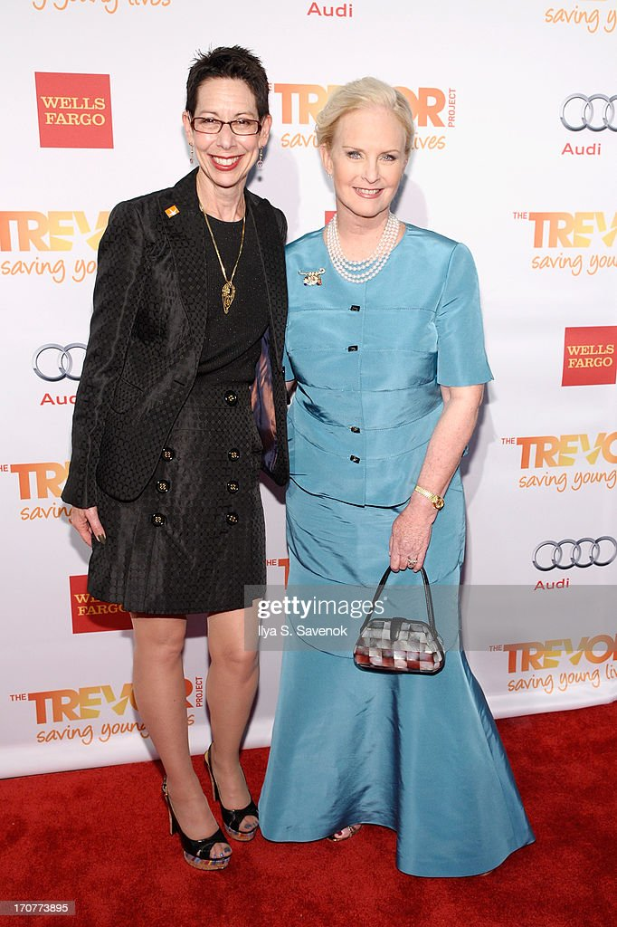 CEO and Executive Director Abbe Land of the The Trevor Project poses with Cindy Hensley McCain as they arrive for The Trevor Project's 2013 'TrevorLIVE' Event Honoring Cindy Hensley McCain at Chelsea Piers on June 17, 2013 in New York City.