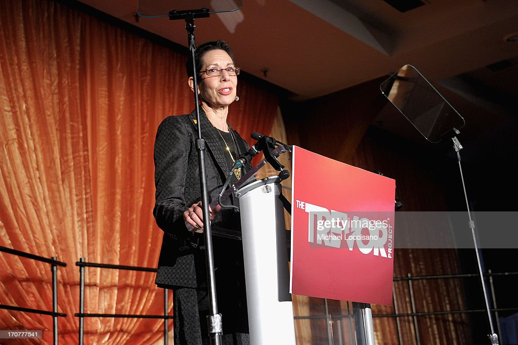 CEO and Executive Director Abbe Land of the The Trevor Projects speaks at the Trevor Project's 2013 'TrevorLIVE' Event Honoring Cindy Hensley McCain at Chelsea Piers on June 17, 2013 in New York City.