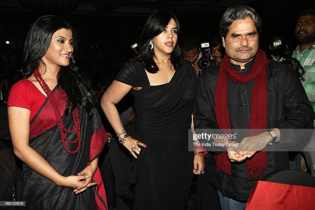 TV and film producer Ekta Kapoor launched tele series Ek Thi Naayka along with Vishal Bhardwaj and telly actors. Also seen in the picture is actor Konkana Sen Sharma.