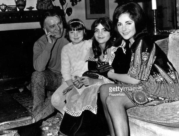 TV and Films 8th December 1968 Gstaad Switzerland A picture of legendary US actress Elizabeth Taylor with her husband Welsh actor Richard Burton and...