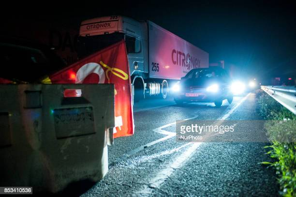 CGT and FO blockade the A22 motorway in the HautsdeFrance at the Rekem border crossing protesting the government's labor law Emmanuel Macron Several...