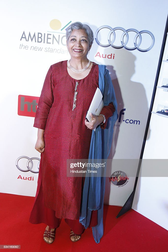 IPS and former Tihar Jail chief, Vimla Mehra arriving at red carpet for Hindustan Times Most Stylish Awards 2016 at hotel JW Marriot, Aerocity on May 24, 2016 in New Delhi, India.