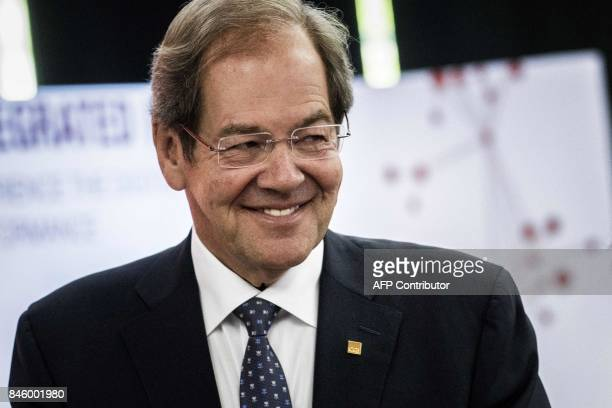 CEO and founder of Canadian information technology group CGI Serge Godin smiles on September 12 2017 in Lyon CGI inaugurated on September 12 2017 its...