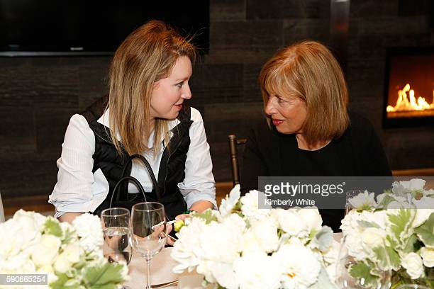CEO and Founder of Theranos Elizabeth Holmes and Congresswoman Jackie Speier attend the Women In Technology and Politics dinner hosted by Glamour and...