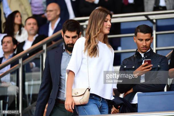 PSG and France handball player Nikola Karabatic with his wife Geraldine Pillet during the Ligue 1 match between Paris Saint Germain and Toulouse at...