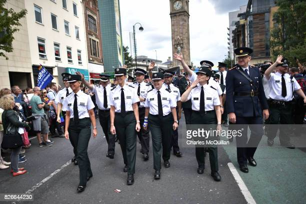 PSNI and Garda officers representative of the gay community take part in the Belfast Gay Pride parade on August 5 2017 in Belfast Northern Ireland...