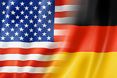 Mixed USA and Germany flag, three dimensional render, illustration