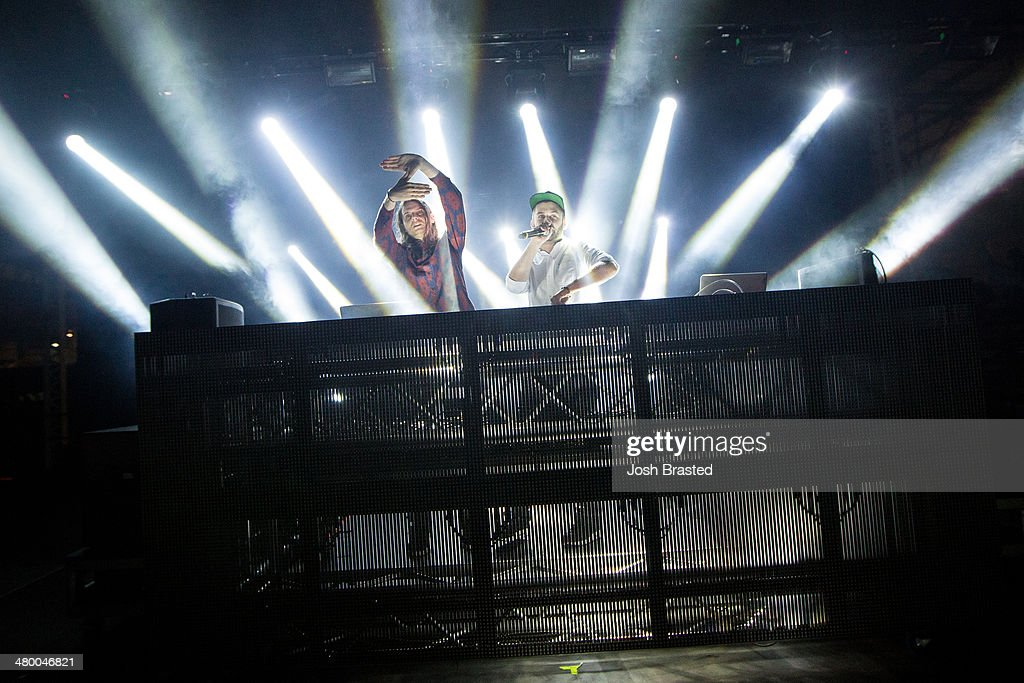 DC (L) and Hooks of <a gi-track='captionPersonalityLinkClicked' href=/galleries/search?phrase=Zeds+Dead&family=editorial&specificpeople=9408801 ng-click='$event.stopPropagation()'>Zeds Dead</a> perform during the 2014 BUKU Music + Art Project at Mardi Gras World on March 21, 2014 in New Orleans, Louisiana.